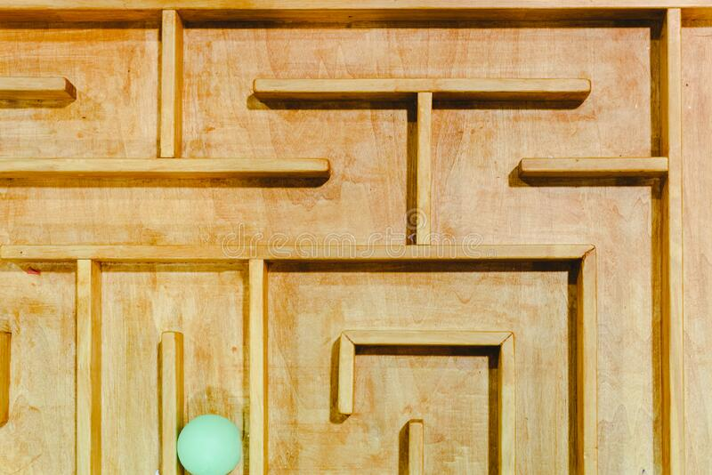 Artisan wooden labyrinth, photo from above.  stock photos