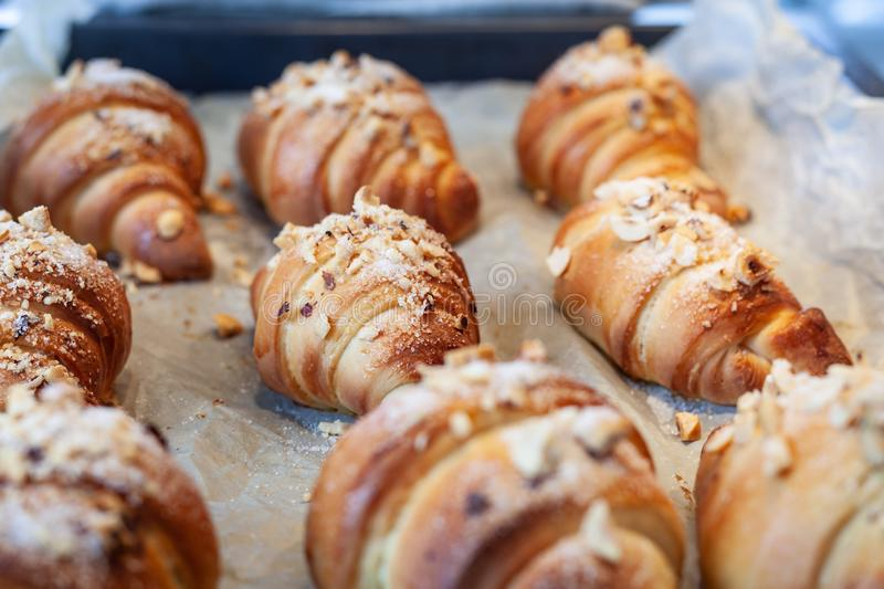 Artisanal croissants made with organic products, baked in the home kitchen stock image