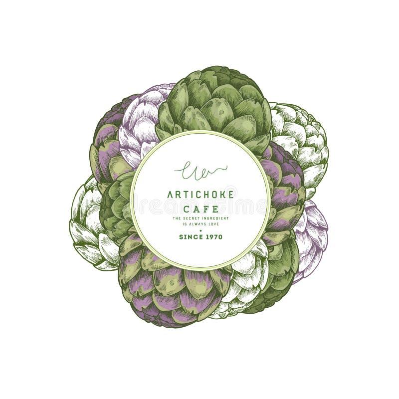 Artisjok om ontwerpmalplaatje Organische groenten Vector illustratie royalty-vrije illustratie