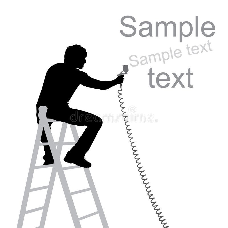 Artist with airbrush silhouette. Isolated over white background stock illustration