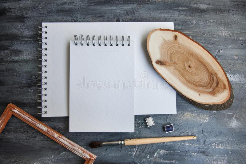 Artist Album Mock Up Template with brush and paints royalty free stock photos