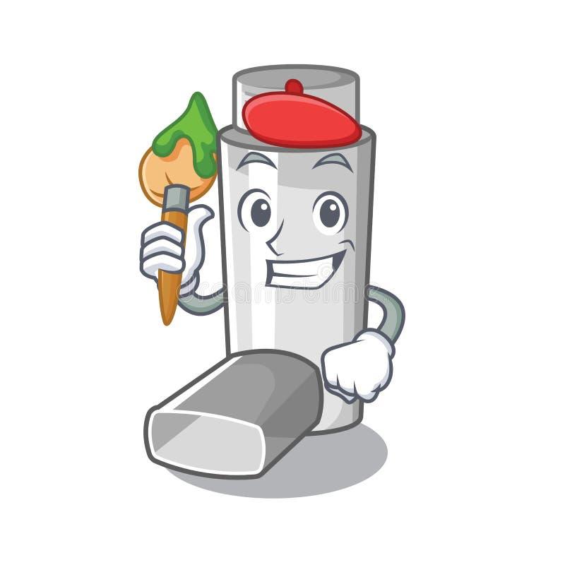 Artist asthma inhaler in the cartoon shape. Vector illustration stock illustration