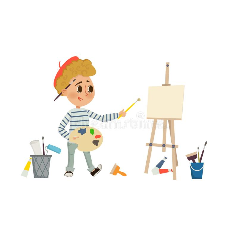 Artist Boy drawing and painting picture with brush and palette on the easel. Children art and design school concept. Cartoon stock illustration
