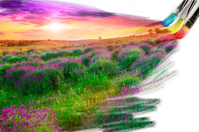 Download Artist Brush Painting Picture Stock Illustration - Illustration of field, lavender: 29166604