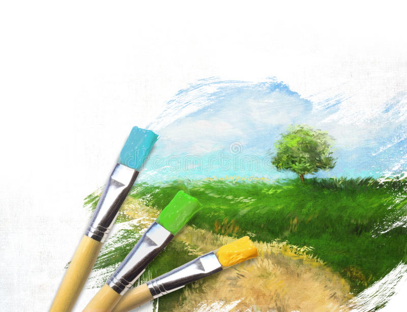 Artist brushes with a half finished painted canvas. Of rural landscape
