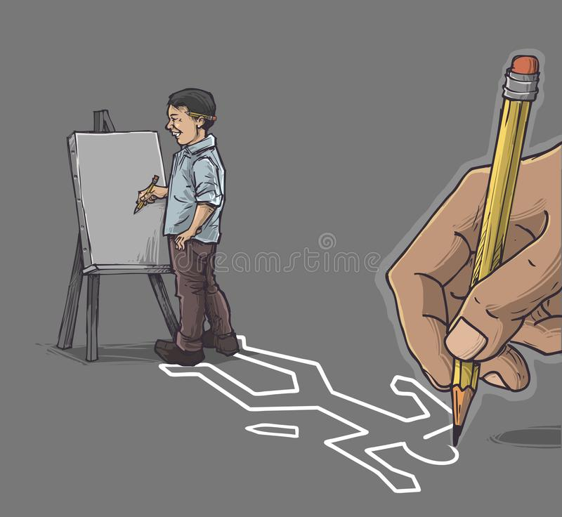 Artist with canvas. Art cartoon