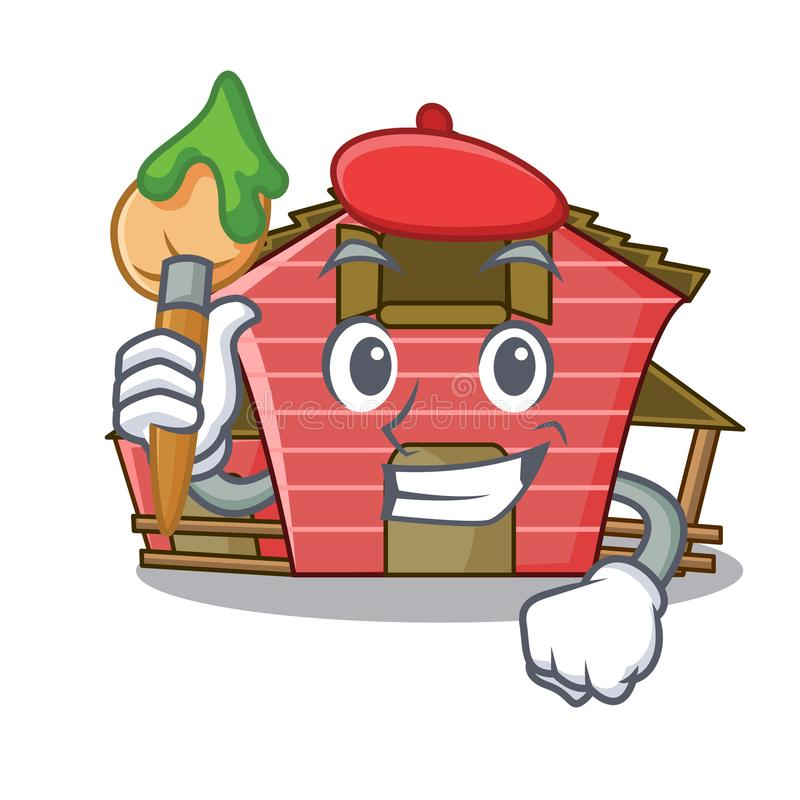 Artist character red barn building with haystack. Vector illustration stock illustration