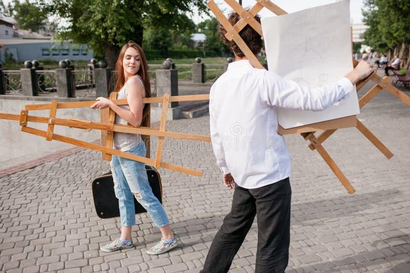 Artist city lifestyle partners flirt concept stock photos
