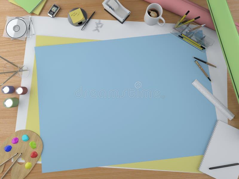 Artist desktop with copy space vector illustration