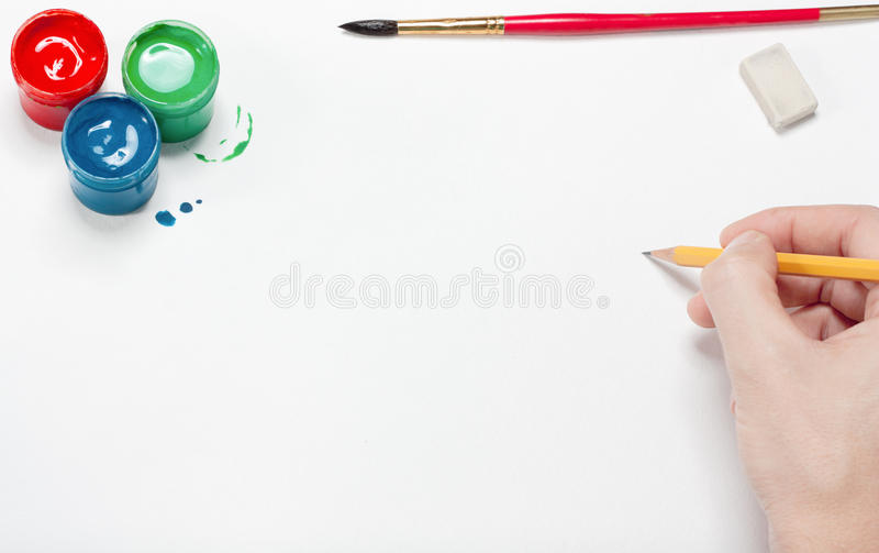 Download The Artist Does A Sketch By A Pencil Stock Photo - Image of design, paper: 16416054