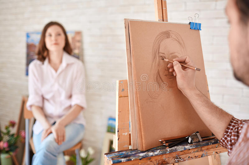 Artist drawing royalty free stock photo