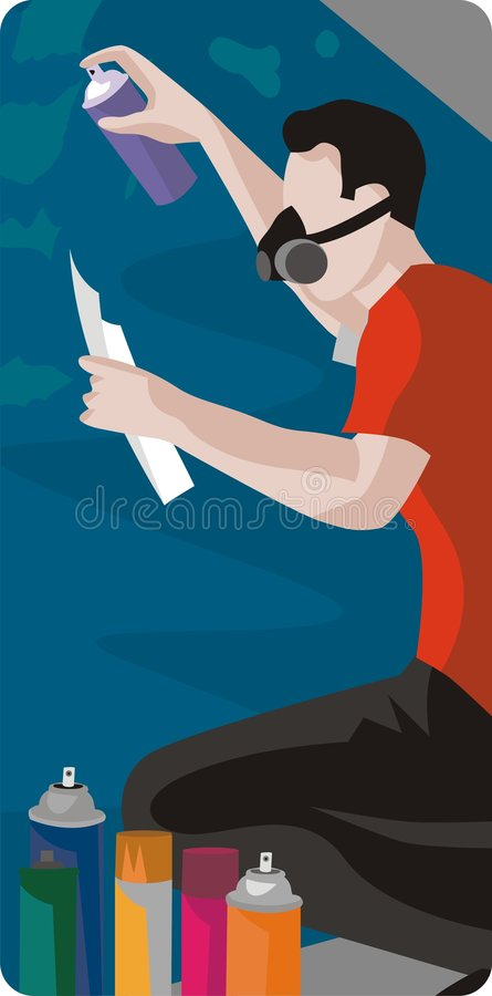 Download Artist Drawing with Spray stock vector. Illustration of artist - 1996085
