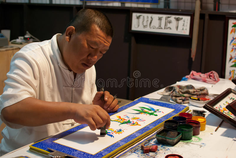 Artist drawing traditional art royalty free stock images