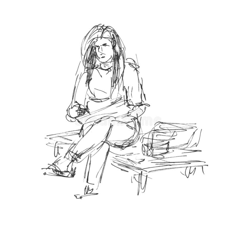 Artist draws a sitting woman girl - sketch hand-drawn illustration with marker liner vector illustration