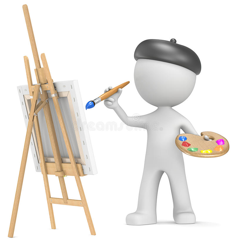 The Artist. Dude the Artist painting. Holding brush and palette. 3D little human character vector illustration