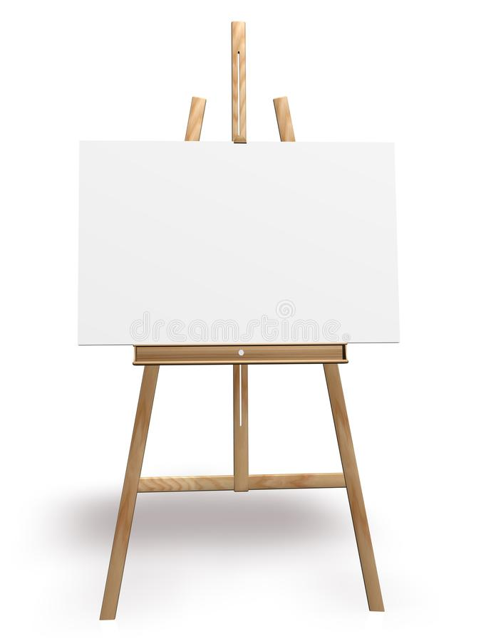 Artist easel and blank canvas stock illustration