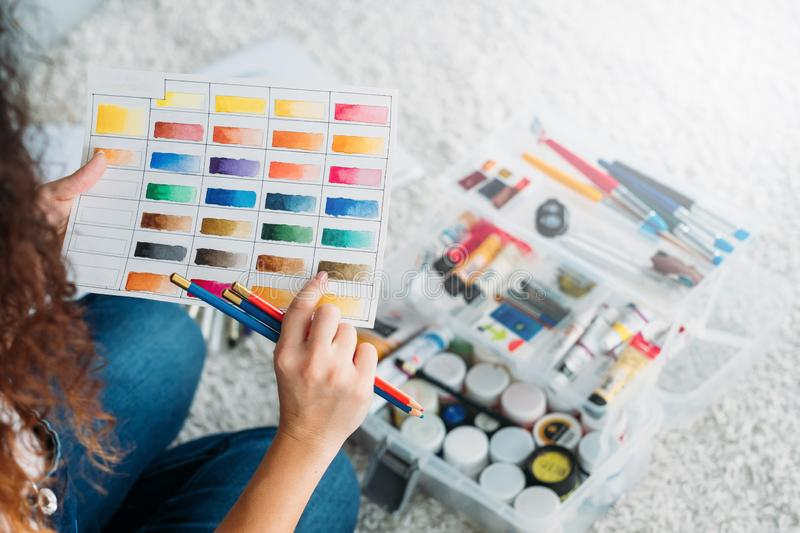 Artist essential tools paint color swatch royalty free stock photos