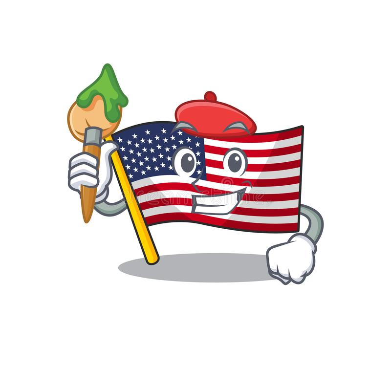 Artist flag america isolated in the cartoon. Vector illustration royalty free illustration