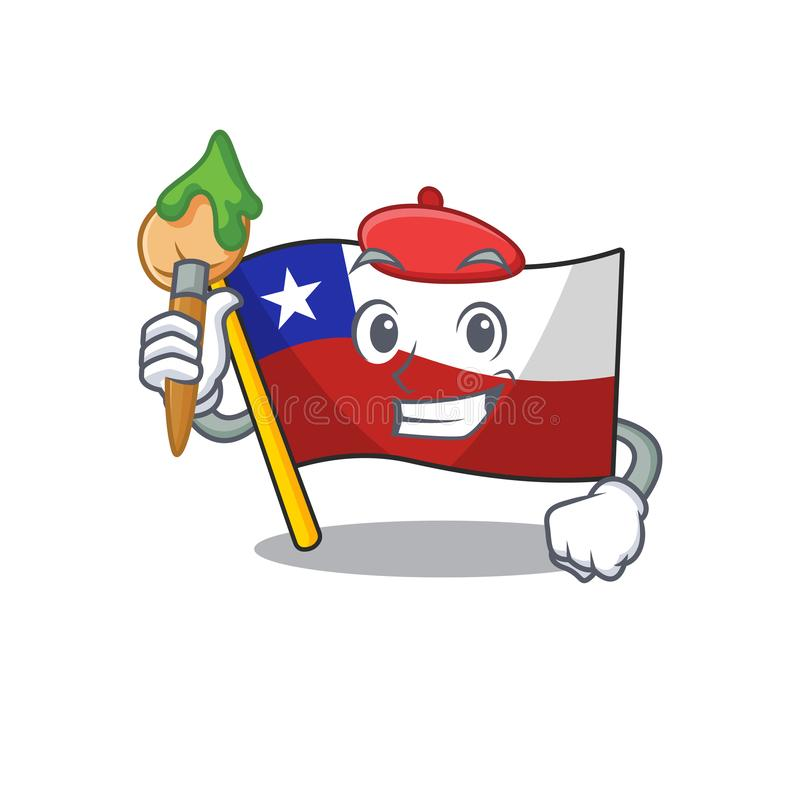 Artist flag chile cartoon in character shape. Vector illustration royalty free illustration