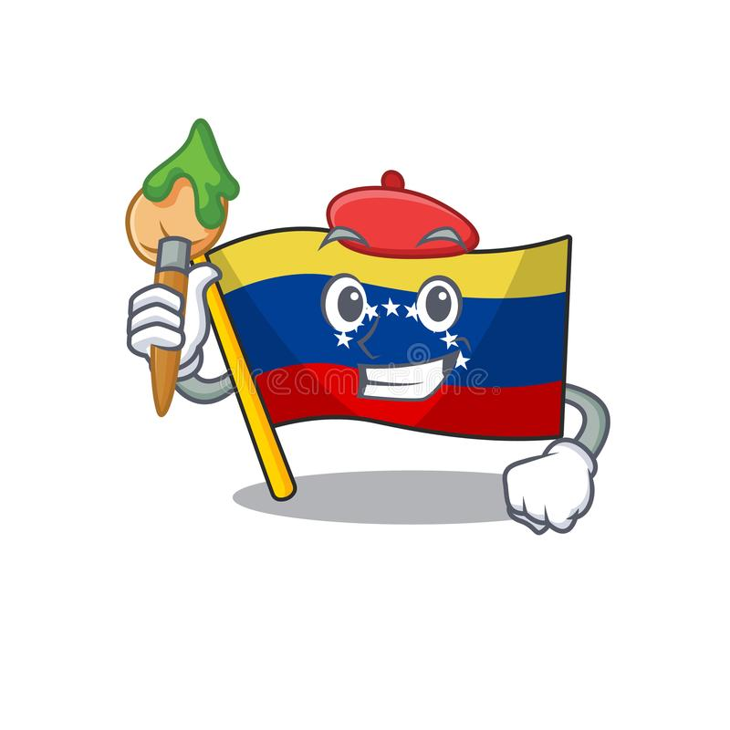 Artist flag venezuela with the cartoon shape. Vector illustration royalty free illustration