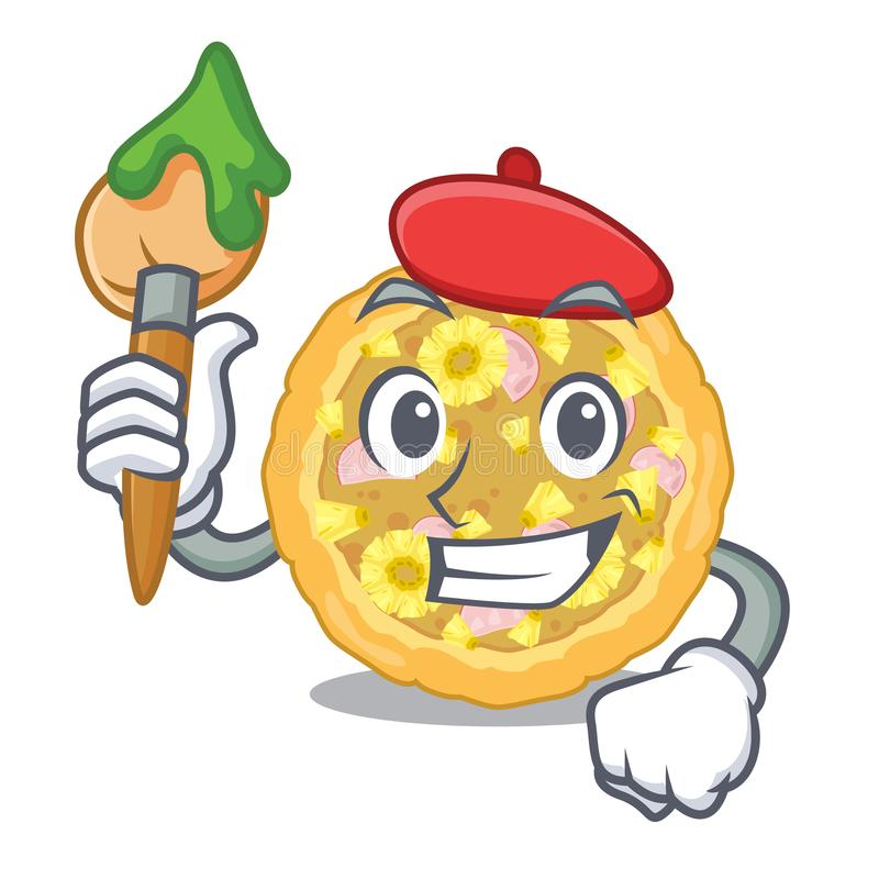 Artist hawaiian pizza isolated in the character. Vector illustration royalty free illustration