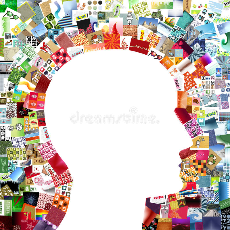 Artist head. White profile head on images patchwork