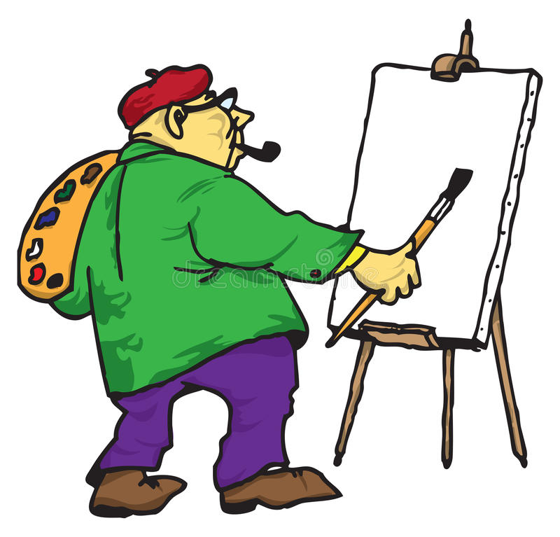 Download The artist with his easel stock illustration. Illustration of raceme - 21561053