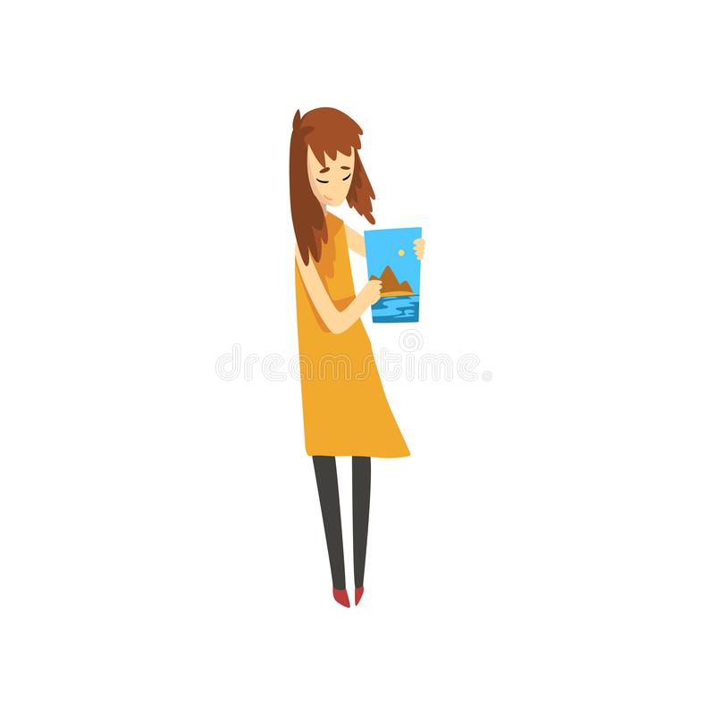 Artist holding her painting, talented female painter character, creative artistic hobby vector Illustration on a white stock illustration