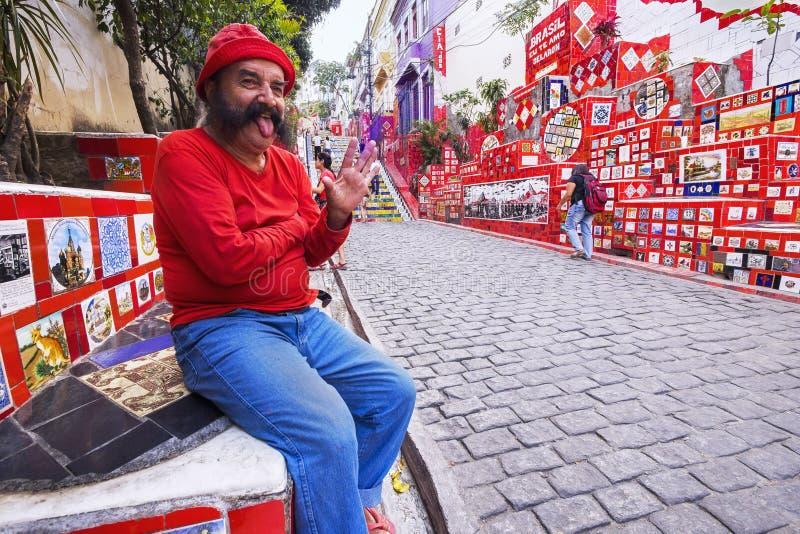 Artist Jorge Selaron at Escadaria Selaron, Rio de Janeiro, Brazil royalty free stock image