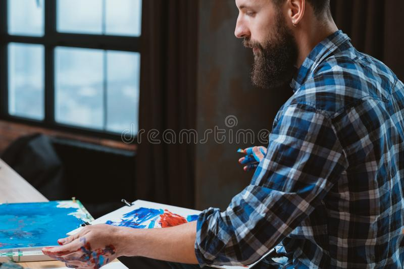 Artist lifestyle modern creative working space royalty free stock photo
