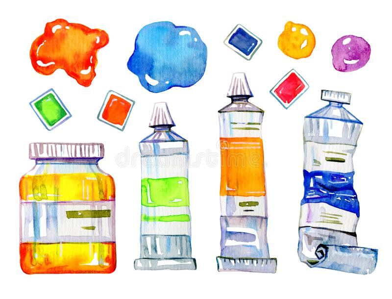 Artist materials - paint tubes and conteiners. Hand drawn sketch watercolor illustration set vector illustration
