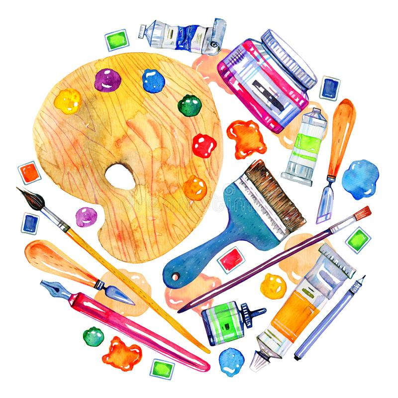 Artist materials in round composition- palette, palette knives, brushes, pens and tubes. Hand drawn sketch watercolor illustration stock illustration