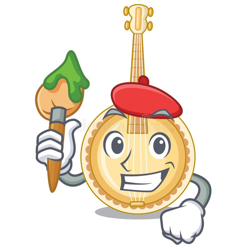 Artist old banjo in the shape mascot. Vector illustration royalty free illustration