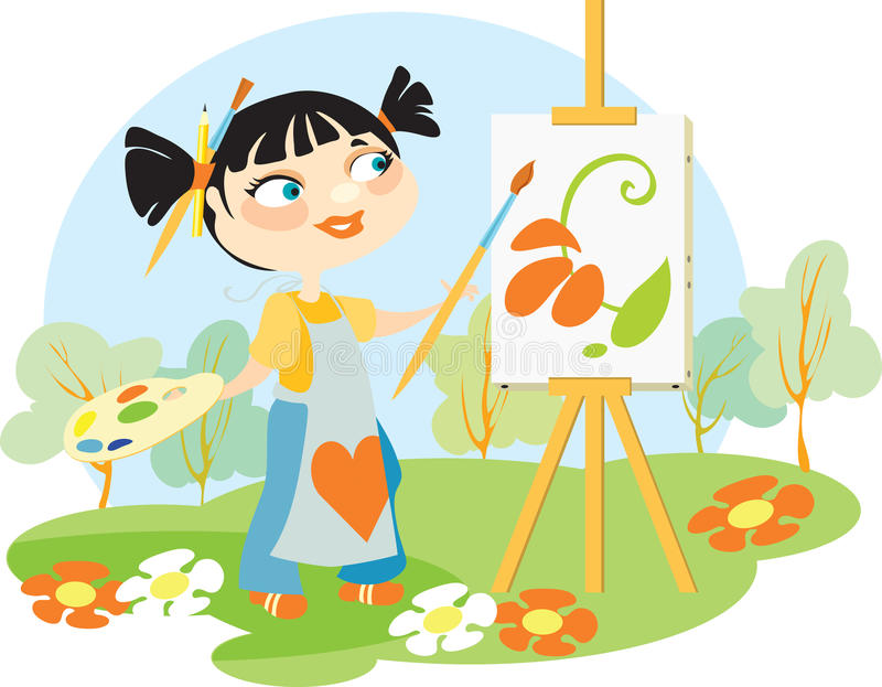 Download The artist on an open-air stock vector. Illustration of apron - 10726106