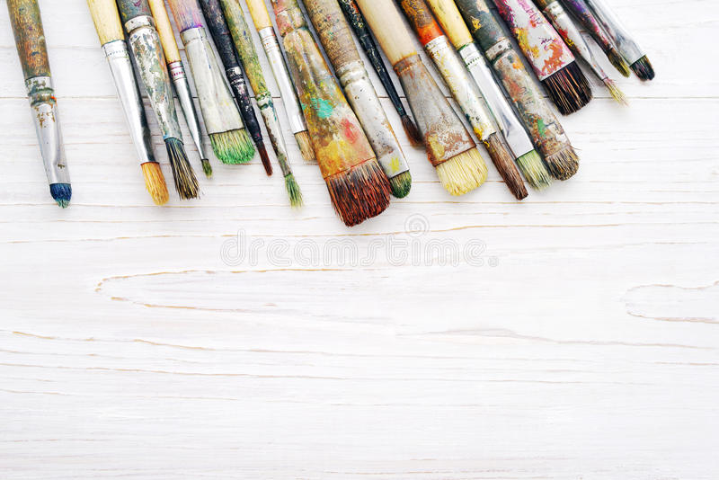 Artist paint brushes closeup stock photos