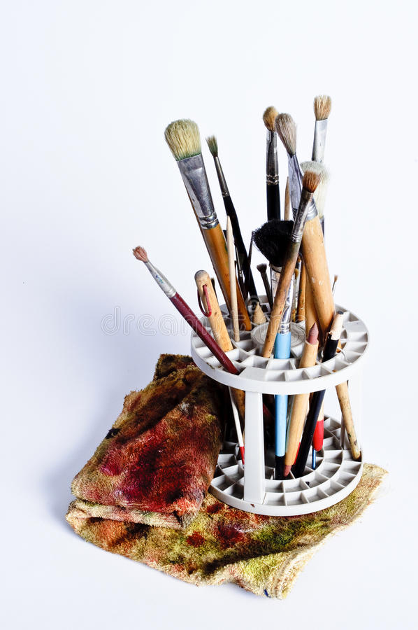 Free Artist Paintbrushes And Cleaning Cloth Stock Image - 17590131