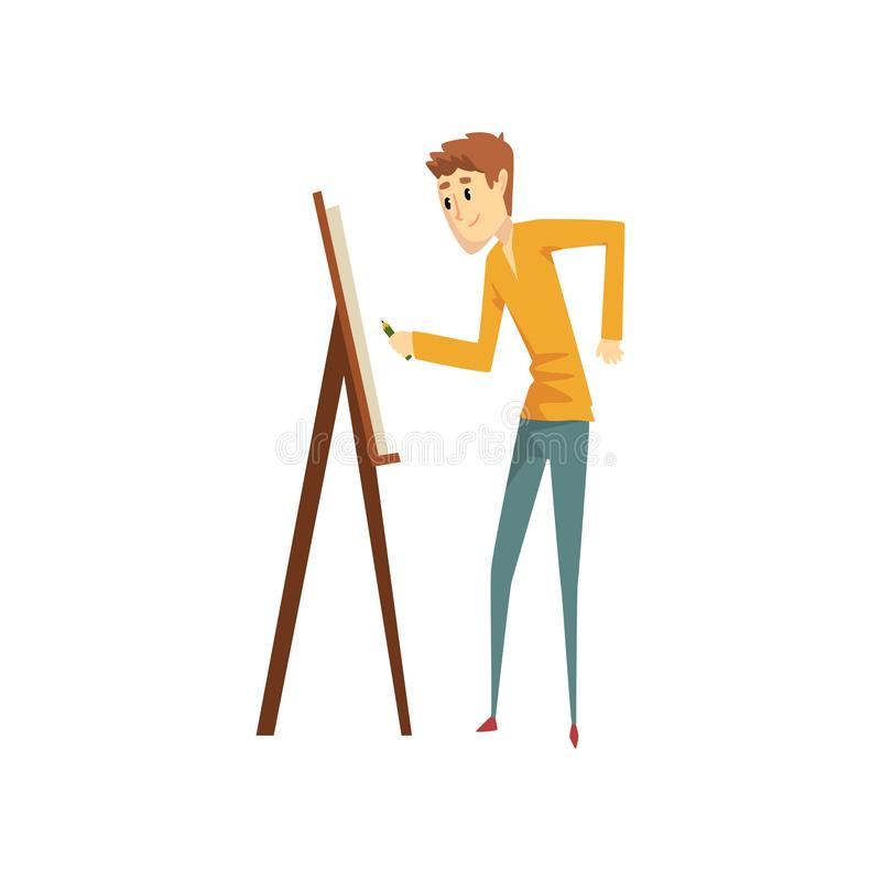 Artist painting on canvas standing near easel, talented male painter character, creative artistic hobby or profession vector illustration