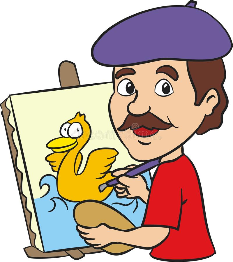 Artist painting funny happy duck. Artist painting a cartoon duck on canvas vector illustration