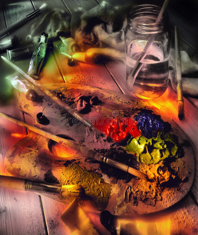Artist Palette and Oil Paints - Light Painting stock images