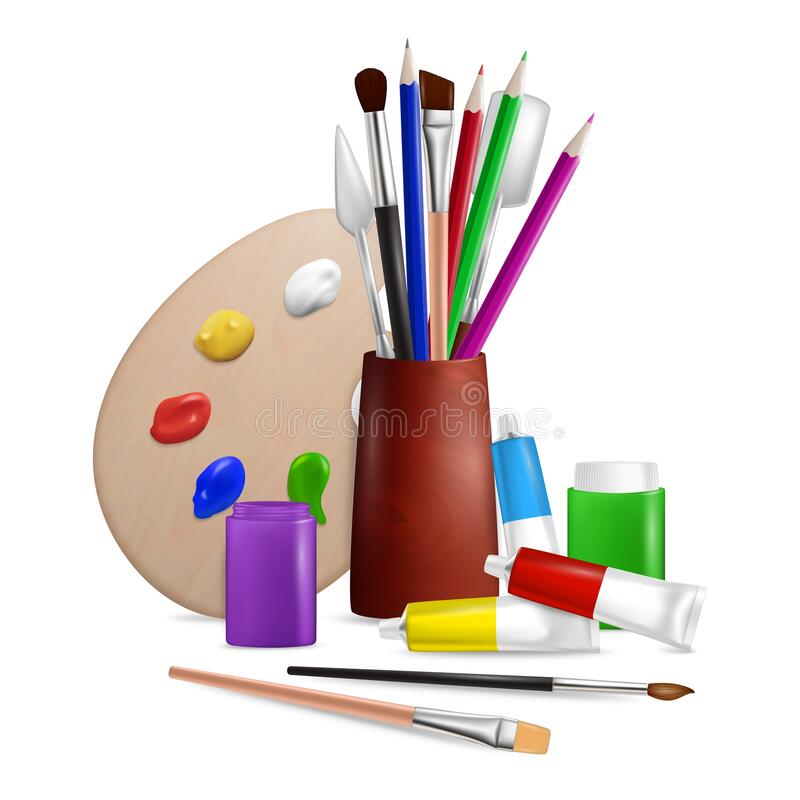 Free Artist Palette With Art Tools And Supplies, Vector Illustration Royalty Free Stock Photography - 170793807