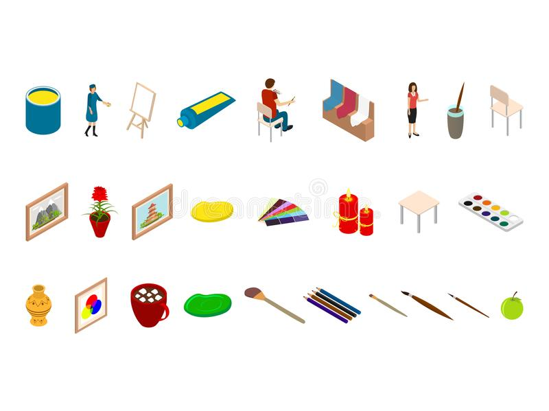isometric drawing tool icons  stock vector