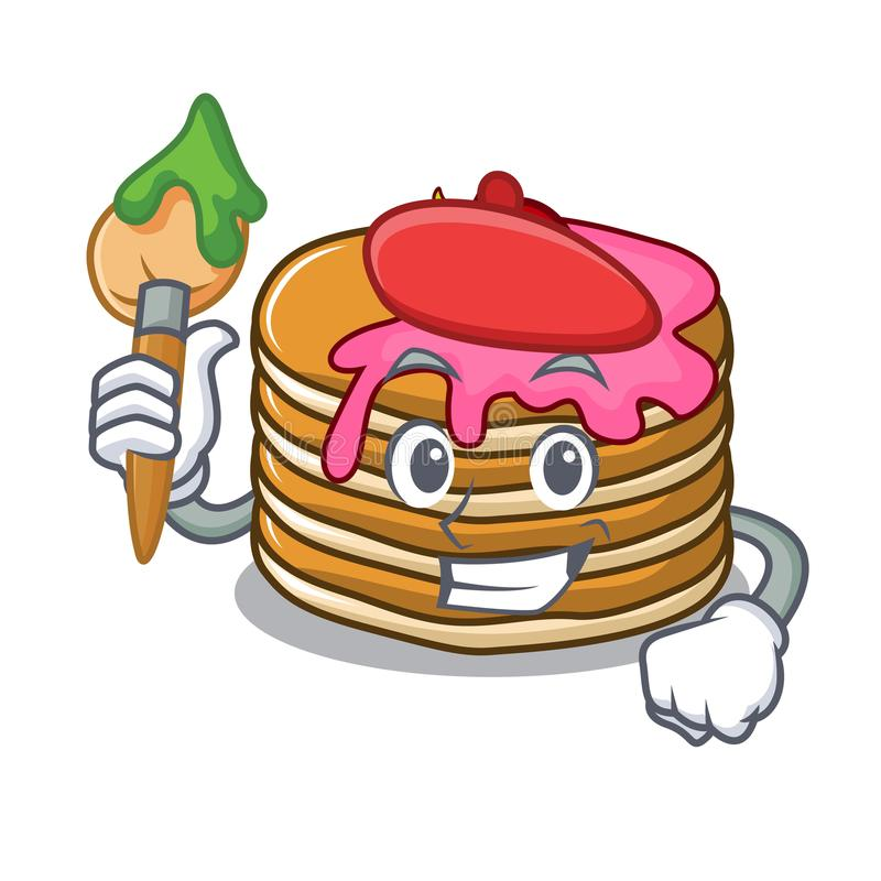 Artist pancake with strawberry character cartoon. Vector illustration vector illustration