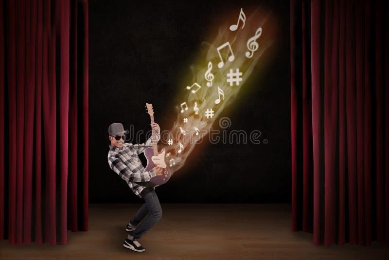 Artist perform guiter instrument on stage stock illustration