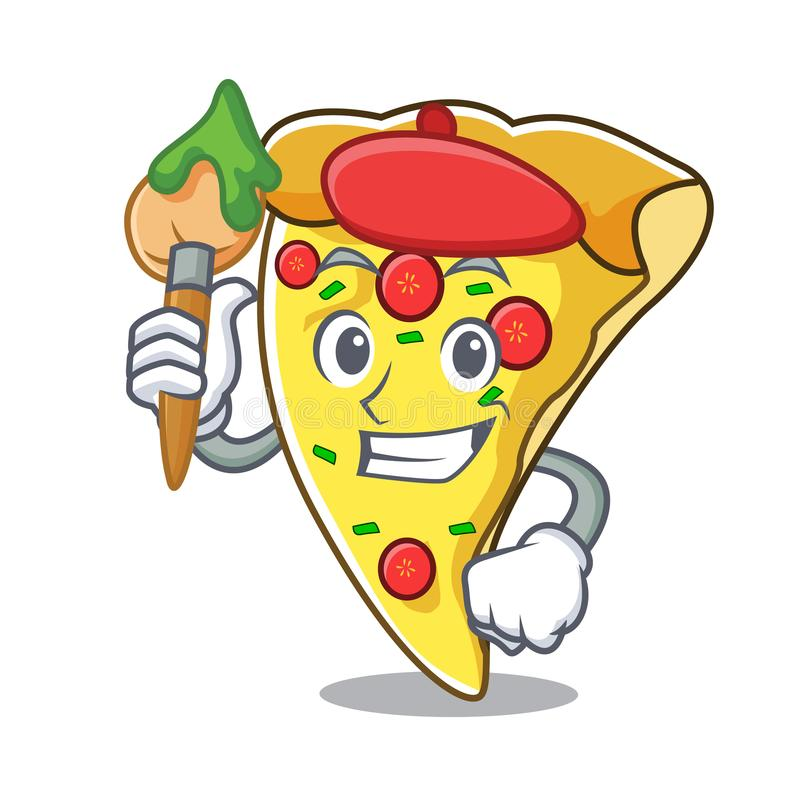Artist pizza slice character cartoon. Vector illustration vector illustration
