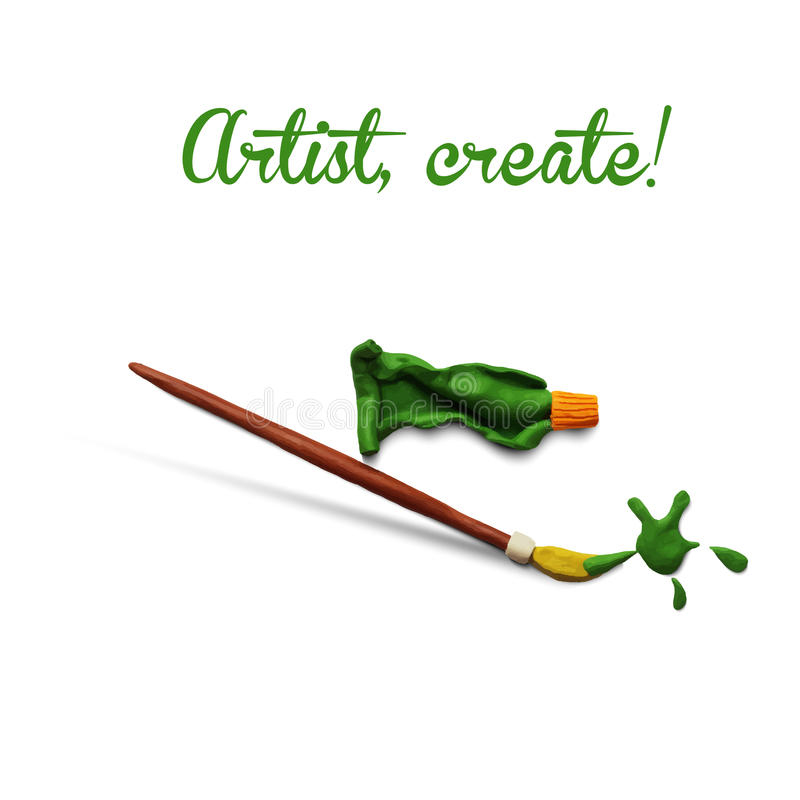 Artist poster. With brush and tube of paint. Vector illustration. Plasticine modeling stock illustration