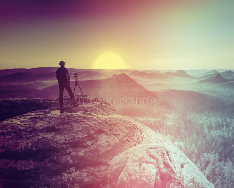 Artist prepare for taking photos with tripod and  mirror camera stock images