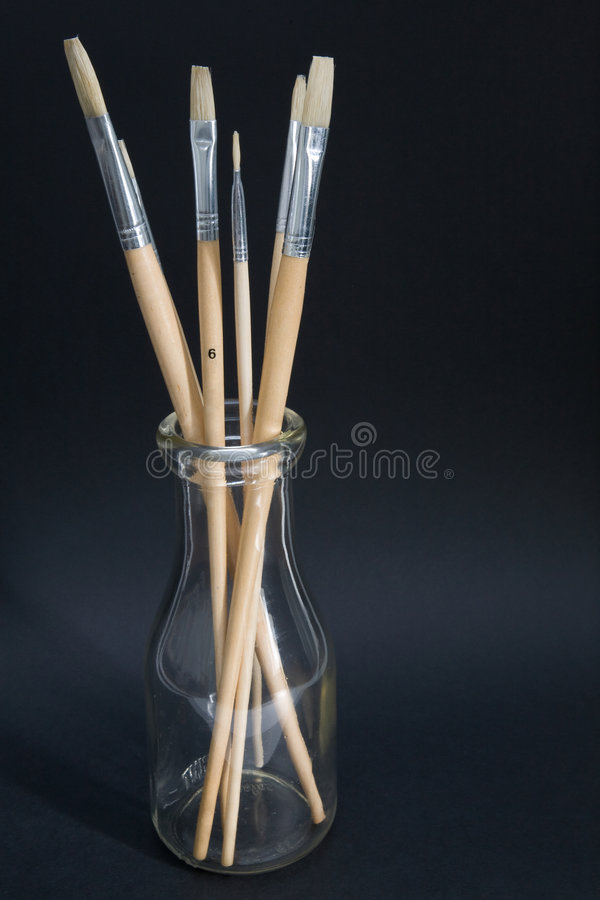 Download Artist's Brushes In Old Milk Bottle Stock Photo - Image: 5658884