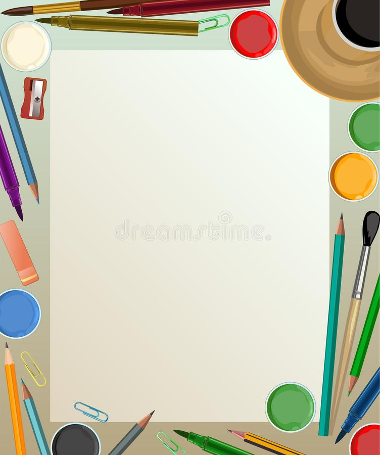 Artist`s desk. Vector. Workspace of the artist. View from above. For banner, web page, poster, printing. Brushes, pencils, paints. vector illustration