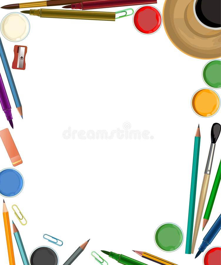 Artist`s desk. Vector. Workspace of the artist. View from above. For banner, web page, poster, printing. Brushes, pencils, paints. Artist`s desk. Vector stock photos