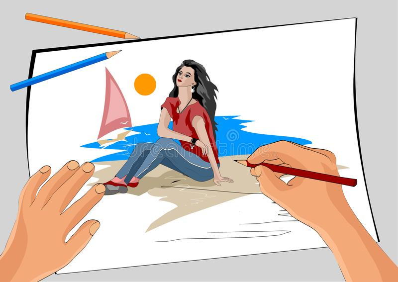 The artist`s hand draws a girl by the sea vector illustration